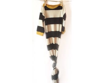 Black and white stripe with mustard knotted baby gown| take home outfit