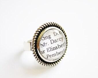 Jane Austen book page ring. Sense & Sensibility. Pride Prejudice. Mansfield park. Emma. Northanger. Persuasion
