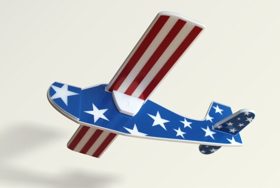 Independence day gift 4th of July gift American Patriotic Air plane toy foam Handmade aeroplane Flying planes Gift for a boy Handmade toys