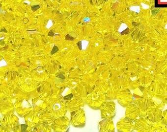 Swarovski Citrin AB Doppelkegel, Artikel 5301 (30 Perlen) gelb 4mm Kristall, Swarovski 4mm Doppelkegel, gelbe Swarovski Kristall Doppelkegel