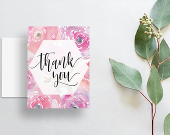 Watercolor Floral Thank You Cards / Soft Pink Watercolor Floral / Calligraphy / Thank You Notes / Printed Folded Thank You Cards