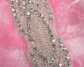 "JB93 Bridal Sash Crystal Rhinestone Applique Silver Beaded 5.5"" (JB93-slcr)"
