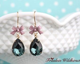 """Sea sparkle"" vintage bow Earrings"