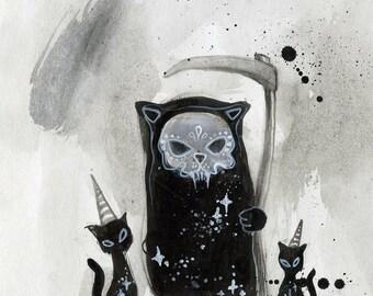 The Grim Reapurrr - spooky art, black cat, digital fine art print, grim reaper, cute scary, india ink illustration, splatter art, watercolor