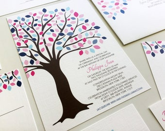 Tree of Life Bat Mitzvah Invitations, Pink and Blue Bar Mitzvah Invitation, Tree Bat Mitzvah Invitation Set