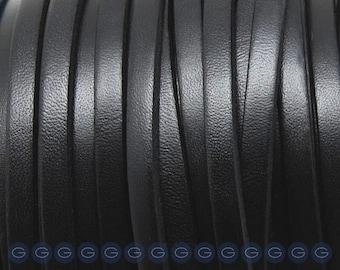 1 Meter Black Flat 5mm Leather,