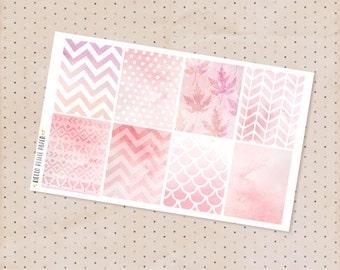Watercolor Pink box stickers - 8 decorative matte planner stickers / erin condren life planner full boxes