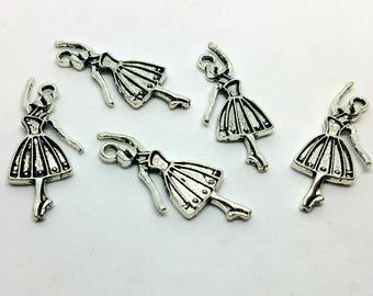 X 1 charm - Dancer Ballet Dance - silver metal