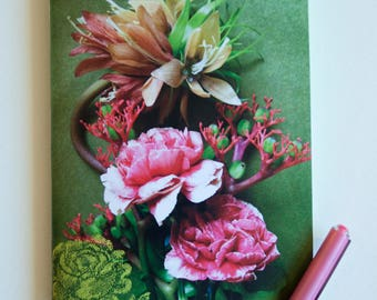 """""""Bouquet of carnations"""" and fleuir tapestry on green background, glossy paper cover notebook"""