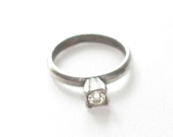 Vintage Sterling Silver Wedding Ring Charm Clear Stone Faux Diamond Wedding Engagement Ring Charm