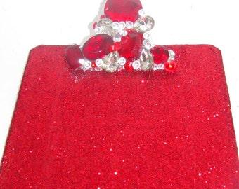 Red Rhinestone and Glitter Clipboard