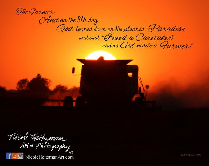 Father's Day Gift for men Harvest Farm print Farming Print Farm photography John Deere Combine The Farmer Gift for Dad Sunset Harvest photo