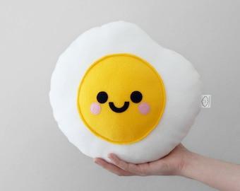 Fried Egg Plushie, Food, Cute Pillow, Kawaii Room Decor, Travel Pillow, Kids Room Decor