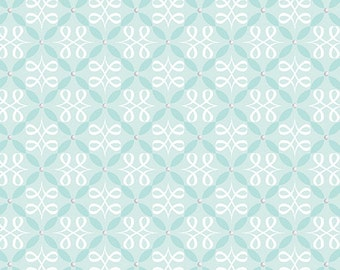 Fabric, Flourish Loops Turquoise, Cotton Fabric, Turquoise Fabric, Quilting Fabric, Fat Quarter, Fabric by the Yard, Sewing