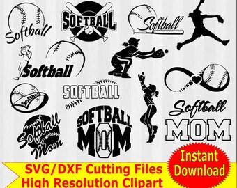 Softball SVG, Softball clipart, softball Silhouette, svg files, svg files for silhouette cameo or cricut, softball mom, softball svg bundle