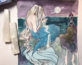 Retrograde - Mermay Watercolor Illustration
