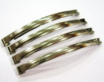 Set of 4 Bobby pins hair metal Made in France Silver 5.8 cm