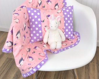 Baby Gift, Baby Girl Blanket, Unicorn, Nursery Decor, Minky Baby Blanket, Baby Shower Gift, Unicorns Blush Pink Purple Lavender Baby Girl