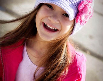 Girls Brimmed hat Crocheted  Flower Newsgirl Newsboy with a bill, brim  in Orchid with Pink and Hot Rose Flower