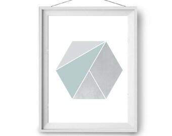 Mint Hexagon Art, Minimal Print, Scandinavian Art, Mint Grey Art, Geometric Poster, Art Print, Wall Decor, Abstract Art, A4, Print Avenue