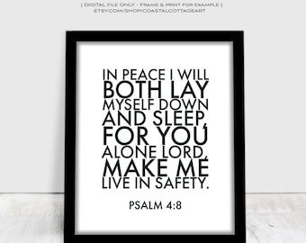 Psalm 4 8, Nursery Art, Scripture Printable, Digital Download, Bible Verse Poster, Psalms, Christian Word Art, Pink, Contemporary