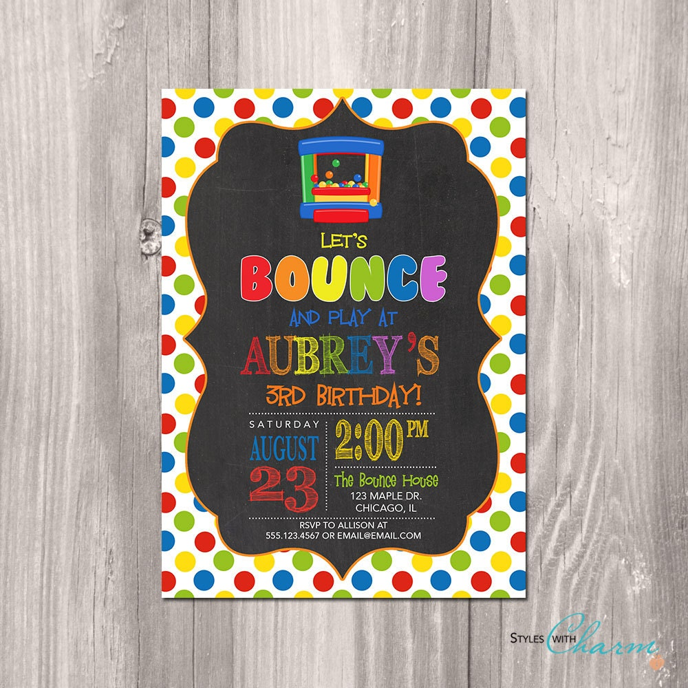 Bounce House Birthday Invitation Bounce Party Invitation