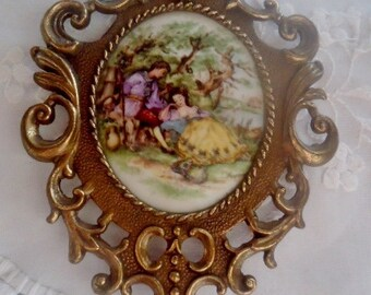 porcelain painting,Porcelain  decoration vintage 50s, French  wall decoration
