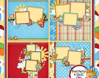 On Sale 50% Off Pool Party Digital Scrapbook Kit 12x12 Quick Pages - Digital Scrapbooking