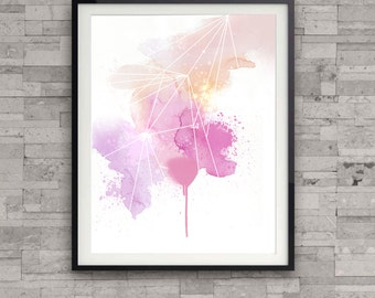 Abstract print, watercolor painting, modern apartment decor, home wall decor, pink, geometric illustration,