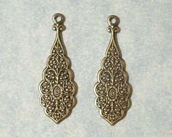 2 Antique Brass Stampings , Brass Earring Drops, Earring Components, Embossed Earring Dangles
