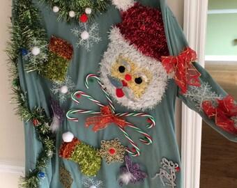 UGLY TACKY SANTA Christmas Sweater Hand-Made New Amazing Detail Winner