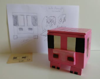 "Box ""Pig"" inspired by Minecraft."