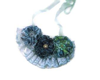 Flower Necklace Bib Statement Necklace Blue Flower Necklace Floral Necklace