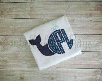 Whale Monogram Applique T-shirt or Onesie for Girls or Boys