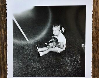 Original Vintage Photograph Little Girl & Kitty