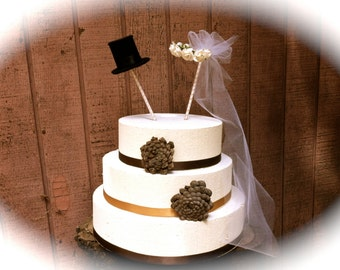 Rustic Wedding Cake Topper, Bride Groom Cake Topper