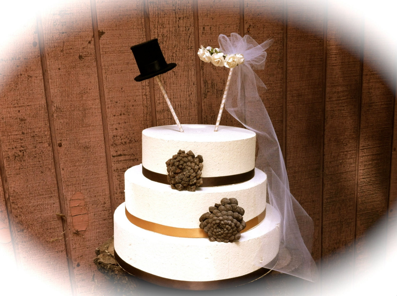 Rustic chic wedding cake topper