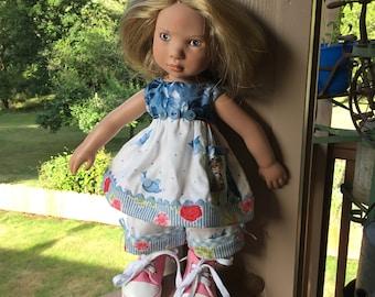 "Bluebird, sweet little girl pocket, 14"" doll clothes, Zwergnase, ooak"
