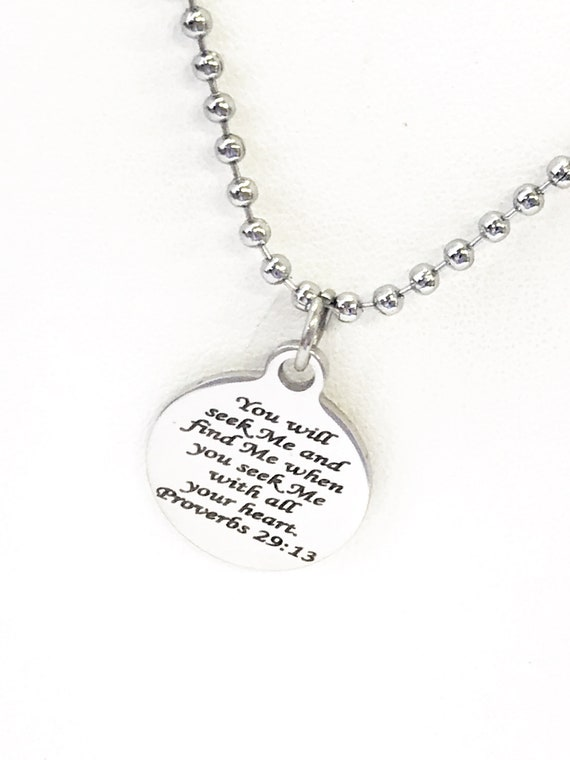 Christian Necklace, Seek Me With All Your Heart Necklace, Proverbs 29 13, Baptism Gift, Christian Gift, Christian Jewelry, Confirmation Gift