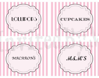 Pink and White Stripe Printable Food Cards