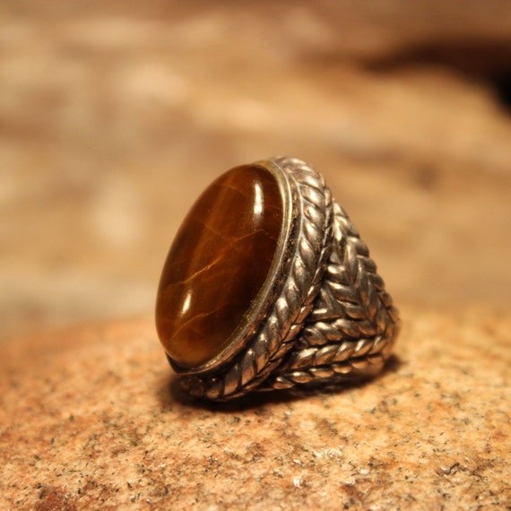Sterling Mexico Large Tigers Eye Ring Mens Ring Heavy 12.4 Grams Size 8 Stamped 925 Vintage Sterling Ring Mexican Vintage Ring Mens Rings