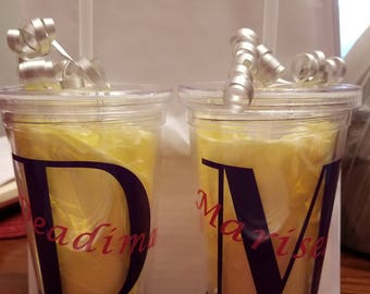 Custom name tumblers drinking cups with straw