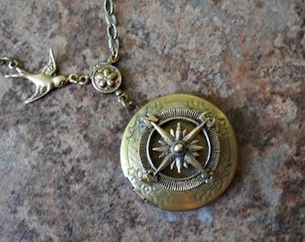 Wanderlust Adventurer Compass Locket in Brass-EXCLUSIVE DESIGN
