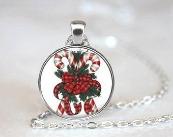 Christmas Necklace Christmas Jewelry Glass Tile Necklace Glass Christmas Candy Canes Tile Jewelry Holiday Necklace Holiday Jewelry