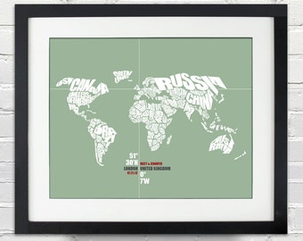 World Coordinate Wedding or Anniversary Gift, World Word Map, Date and Place, Bride and Groom, Any Location, Bridal Shower, Color Choice