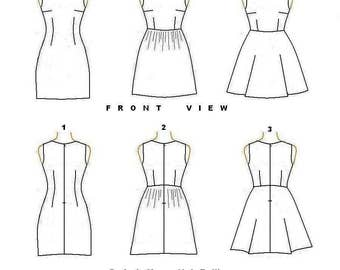PDF Sewing Pattern- Basic Sleeveless Dress with 3 skirt Options-European Sizes 34,36,38,40,42-Us Sizes 4,6,8,10,12