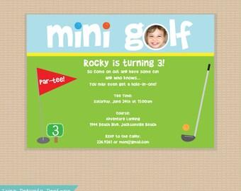 Mini Golf . Birthday Party Invitation . Any Colors