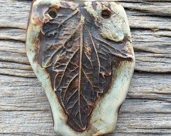 Ceramic Pendant Wabi-Sabi Rustic Large Leaf Statement Size Stoneware by Mary Harding