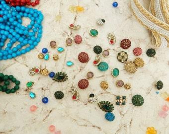 20 pcs- Multicoloured Rhinestone Embellishments, Brooch Embellishments, Bridal Supplies- Invitation - Brooch Bouquet - Hair Comb - Shoe Clip