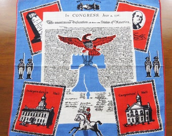 Vintage Tammis Keefe Handkerchief - Declaration of Independence - Red White Blue - Hand Rolled